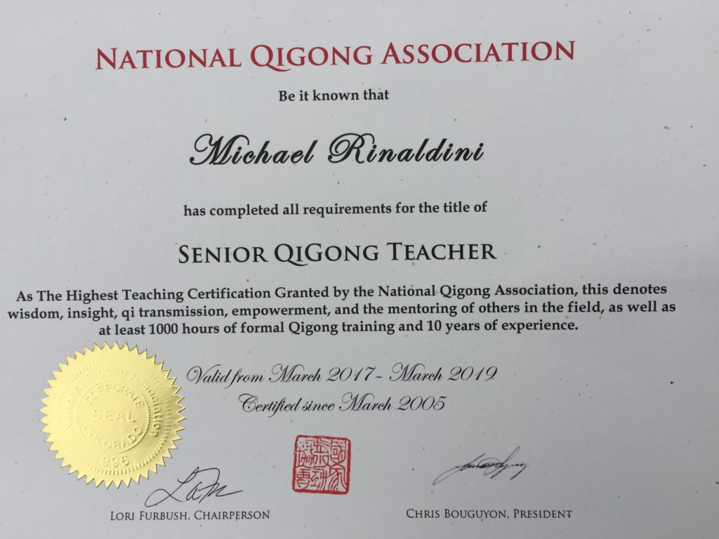 Certification Qigong Teacher